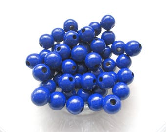 50 wooden pacifier clip 8 mm - dark blue beads