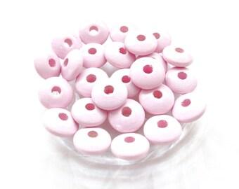 50 pacifier - tender Rose flat wooden beads