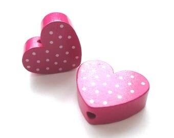 Heart polka dots - Fuchsia & white wooden bead