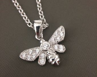 Sterling Silver Honey Bee necklace, Bee necklace, Silver Bug pendant, CZ Bee Pendant, Dainty necklace, simple necklace, Teen gift
