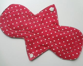 "10"" Regular Flow - Red Polka Dot - Waterproof Reusable Cotton Cloth Sanitary Pad"