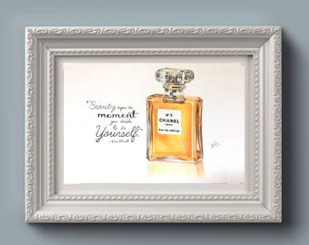 Chanel No.5 Perfume Drawing Print With Quote - Wall Art - Makeup Room Decor - Quote - Inspirational