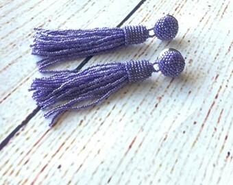 Beaded tassel earrings, lilac, clip on earrings, prom earrings, fringe earrings,  statement seed beads earrings, tassle earrings