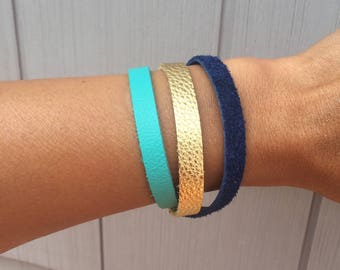 Women's Leather Bracelet, Turquoise, Gold and Navy Leather Wrap Bracelet, Boho Bracelet, Friendship Bracelet, Stacked Bracelet, Everyday