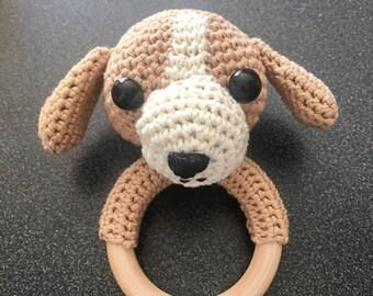 Beagle crochet rattle