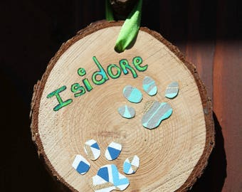 Cedar Wood Wall Decoration with Paw Print of Your Pet wall decor wood Cedar with imprint of your pet paws