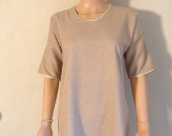 Tunic cotton woven beige 38/40/42/44/46 and lurx gold