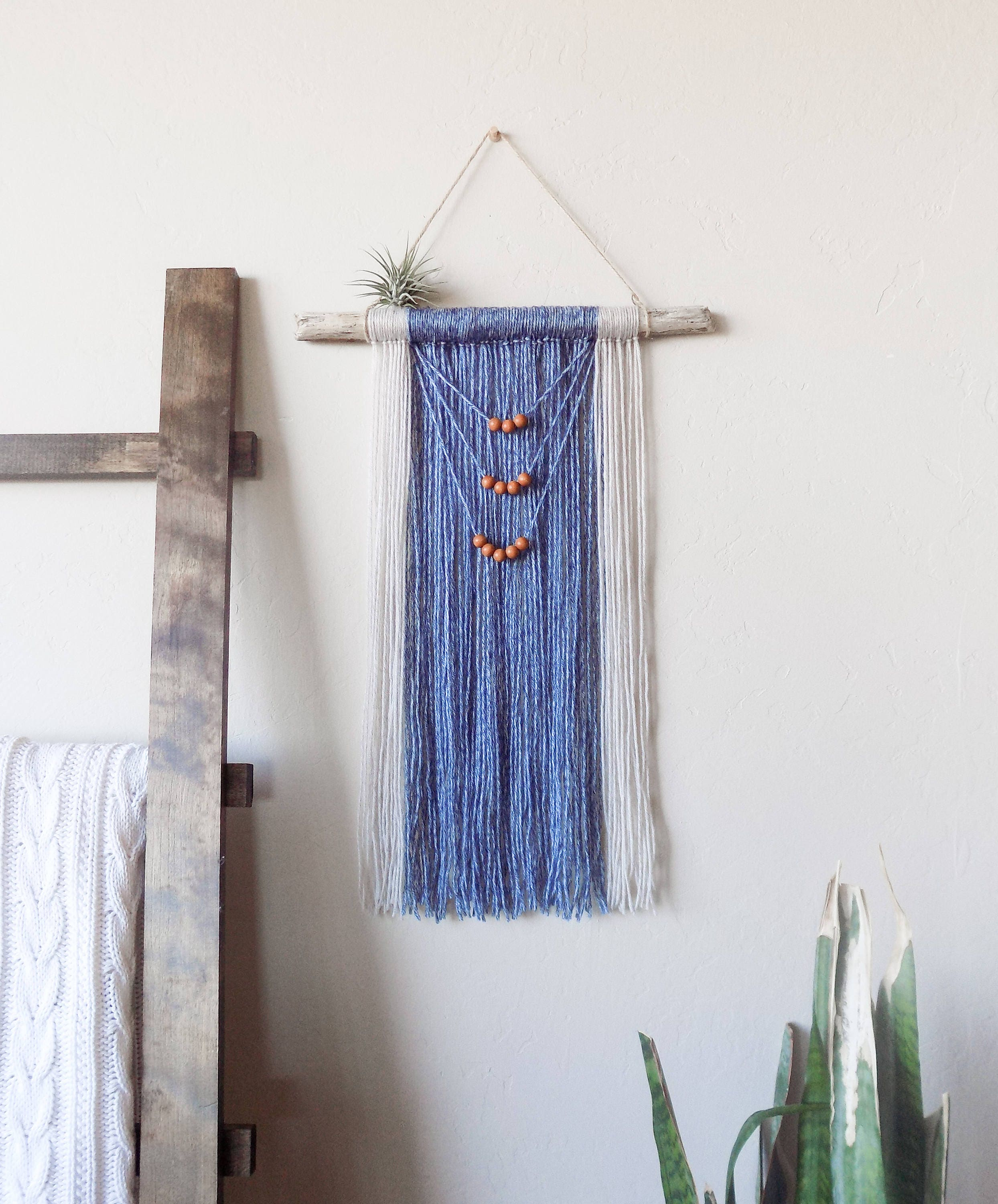 Ocean Blue Taupe Yarn Wall Hanging Driftwood
