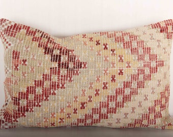 cottage chic lumbar pillow chevron pillows red and white pillow covers home and living boho cushions turkish kilim pillow KP10052