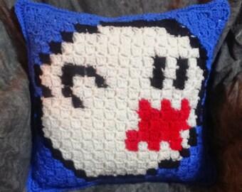 Hand Crocheted Super Mario Boo Nintendo Pillow Made to Order