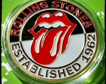 Rolling Stones Rockband Colorized Gold Plated Art Coin