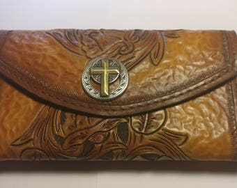 hand made women's leather clutch purse