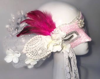 Unique Masquerade Mask Womans Flower Pink Sexy Lace Top Mask The Queen Of Clubs Mask Halloween Party Masquerade Mask Costume Ball Mask Bdsm