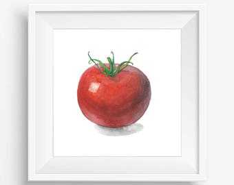 Tomato Watercolor Painting, Vegetable Print, Tomato Printable, Tomato print, Tomato Art, Watercolor tomato, Kitchen printable, Home decor