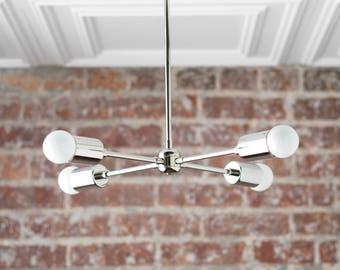 Industrial Chandelier - Modern Ceiling Light - Semi Flush - Mid Century Fixture - Nickel Sputnik Lamp - Chrome Fixture