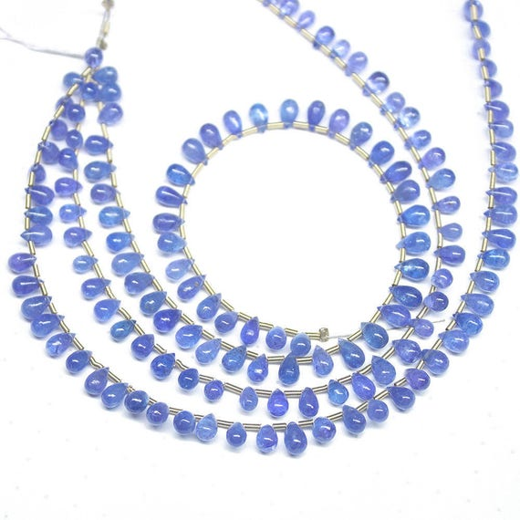 Teardrop Tanzanite: Natural Blue Tanzanite Smooth Tear Drop Briolette Gemstone
