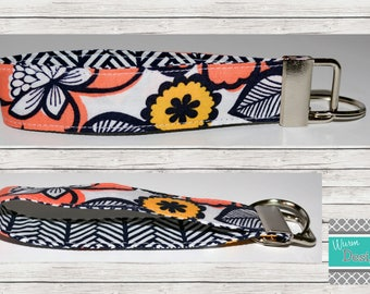 Floral/Navy/Coral/Mustard Fabric Keychain, Key Fob, Wristlet Keychain, Wristlet Key Fob