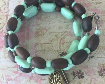 green and brown  wrap feather charm bracelet