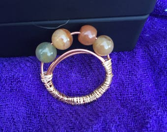 Blood Agate Gold and Copper Wire-Wrapped Ring