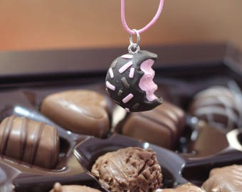 Chocolate truffle charm, clay charm necklace
