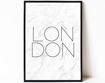 London city wall art, instant download printable art, typography poster, modern minimalist print, marble printable wall decor, home decor