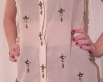 Ecru color chiffon long blouse