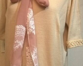 Short-sleeved sweater in beige wool