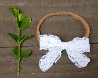 White Lace Bow, Lace Bow, Nylon Headband, White Lace Nylon Headband