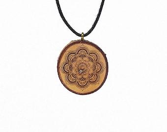 "Soul Slices ""Mandala 4"" wooden necklace, Vintage * Ethno * hippie * MUST have * statement *"