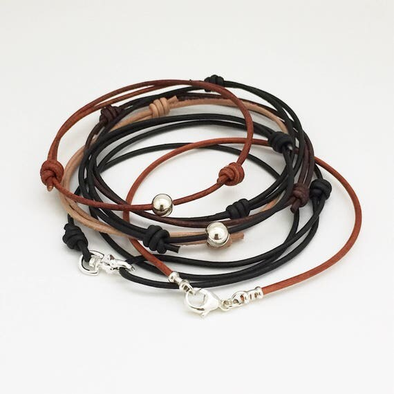 Leather cord bracelets Thin Leather bracelet Mens Bracelet