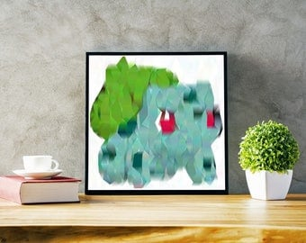 Starter Pokemon Art Prints: Bulbasaur reimaginated by an AI