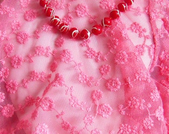 Upcycled Red and White bead necklace