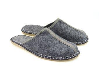 Polish Felted Slippers, Folk-Inspired Handmade Comfortable Carpet Slippers, Mens Shoes