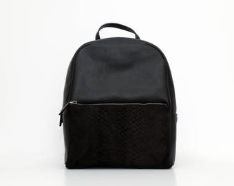 Olivia leather and texture suede Backpack