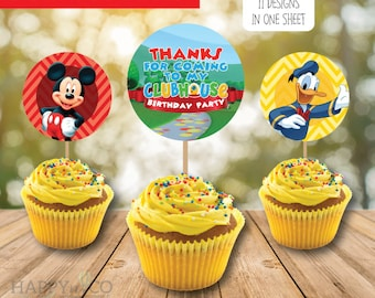 DIGITAL Instant Download Mickey Mouse Clubhouse Cupcake Toppers, Mickey Mouse and Friends Party, 2 INCHES Cupcake Toppers