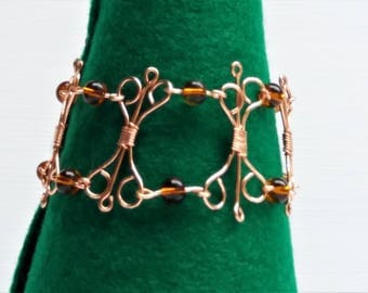 Copper Link Bracelet, Copper Wire and Bead Bracelet, Gift for Women, Copper Anniversary Gift, 7th Anniversary Present