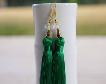 Emerald green thick tassel earrings