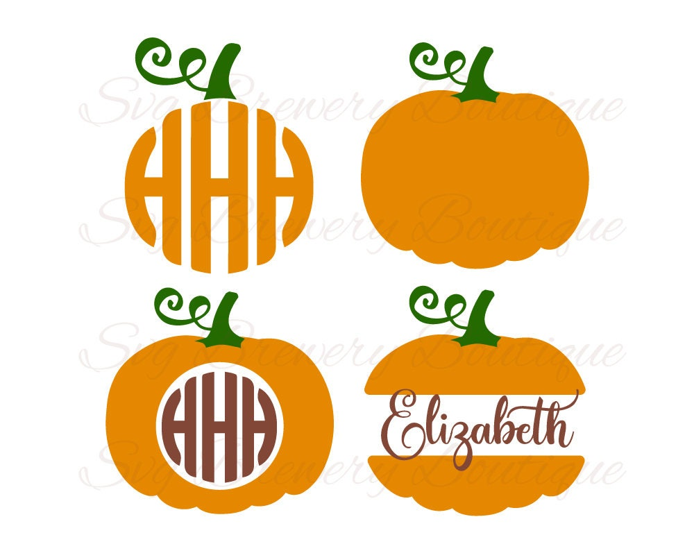 Pumpkin halloween monogram fame split frame svg layered for Monogram pumpkin templates