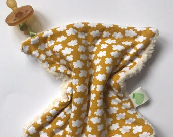 Lovey cuddle cloth, towel, blanket, pacifier, teddy, clouds, yellow ochre