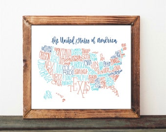 Map of America USA Hand Lettered Outline