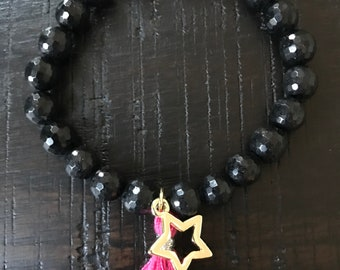 Black agate Star bracelet