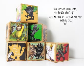 Wild One Wooden Blocks, Where The Wild Things Are Baby Blocks, Max's Crown, Personalised Nursery Decor, Wild Rumpus Starts!