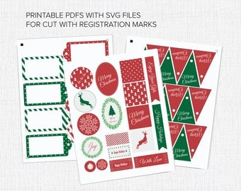 Printable Christmas Tags with SVG for Cut Files Instant Download