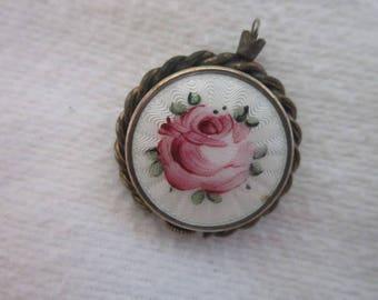 Antique Croton Ladies Pendant Watch with Gillioche Enamel Rose