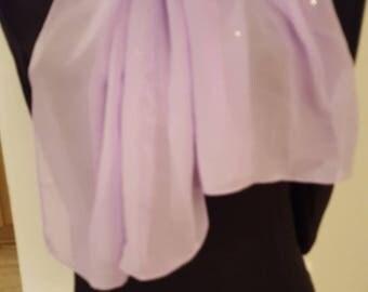 Ladies Glamour Swarovski adorned scarf & scarf clip-gift boxed - Soft Lavandar