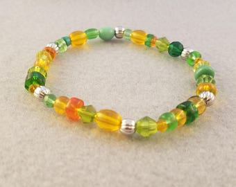 Green and Yellow Bracelets - Yellow Beaded Bracelet - Green Beaded Bracelet - Orange beaded Bracelet - Silver metal Beaded Bracelet - Boho