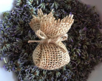Lavender Hessian Pomanders wedding favours, scented bags