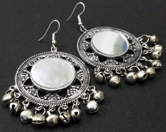 Free Shipping-Unique Beautiful Mirror Earrings, Ghoongaro(small bells) Earrings, Silver & Black Tone Danglers/Drop Earrings for Women JW-6