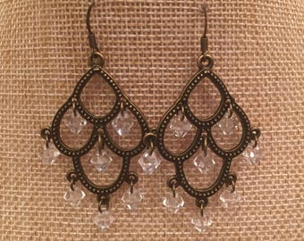 Beautiful larger antique brass chandelier earrings with clear Swarovski crystal dangle beads
