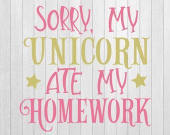 Unicorn vinyl Decal, unicorn wall art, unicorns, school decal, wall sticker, unicorn sticker, school book sticker ,Unicorn ate my homework,